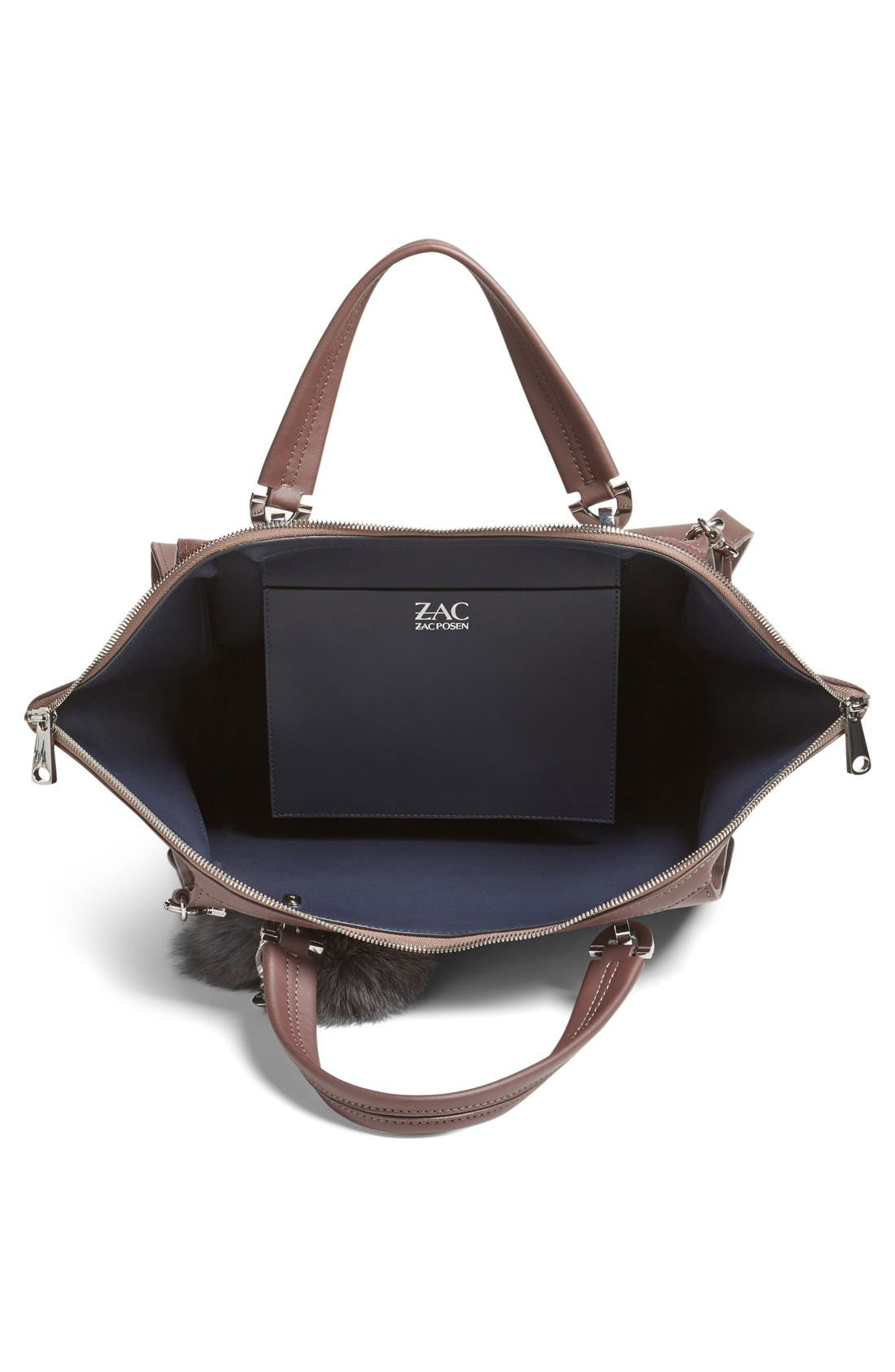 Alternate Image 4  - ZAC Zac Posen Jumbo Eartha Iconic Leather Satchel with Genuine Fox Fur Bag Charm