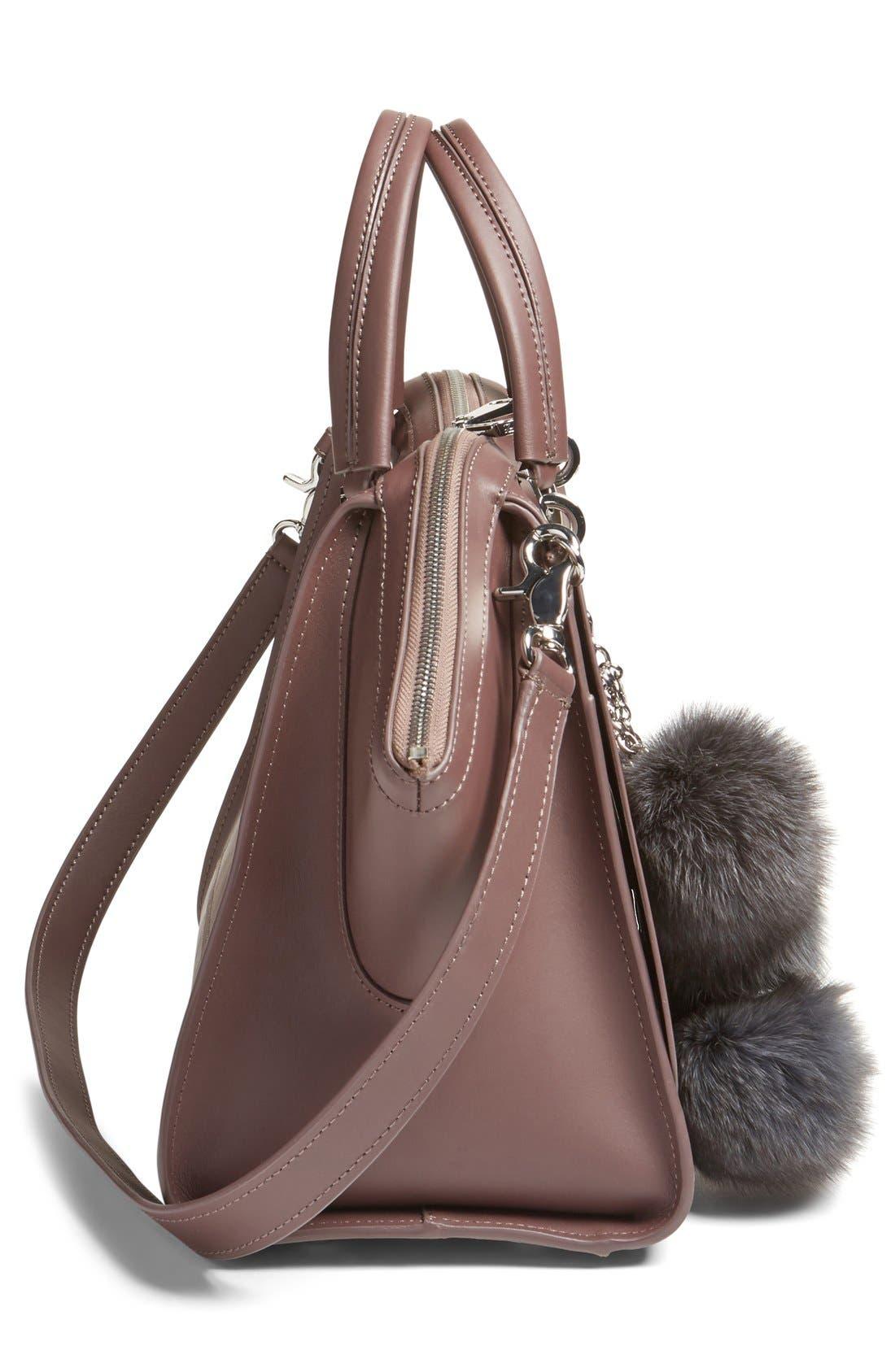 Alternate Image 5  - ZAC Zac Posen Jumbo Eartha Iconic Leather Satchel with Genuine Fox Fur Bag Charm