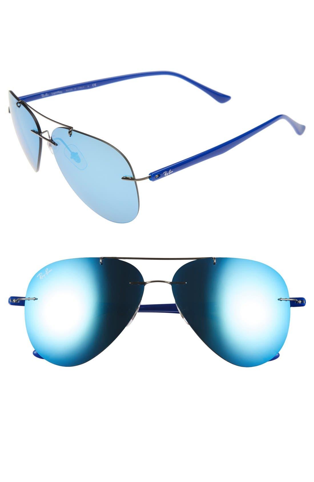 Tech 59mm Aviator Sunglasses,                         Main,                         color, Gunmetal