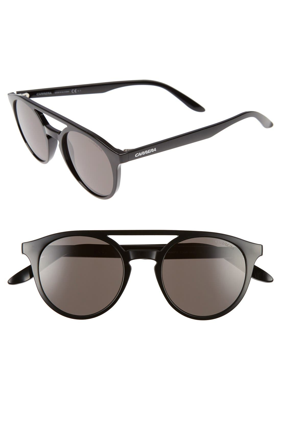 49mm Round Sunglasses,                         Main,                         color, Shiny Black
