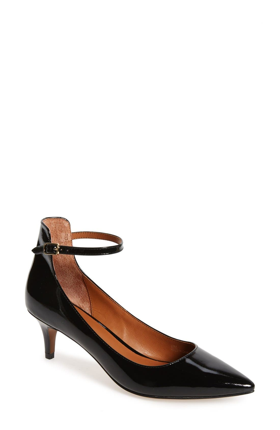 'Cutie' Ankle Strap Pointy Toe Pump,                             Main thumbnail 1, color,                             Black Patent