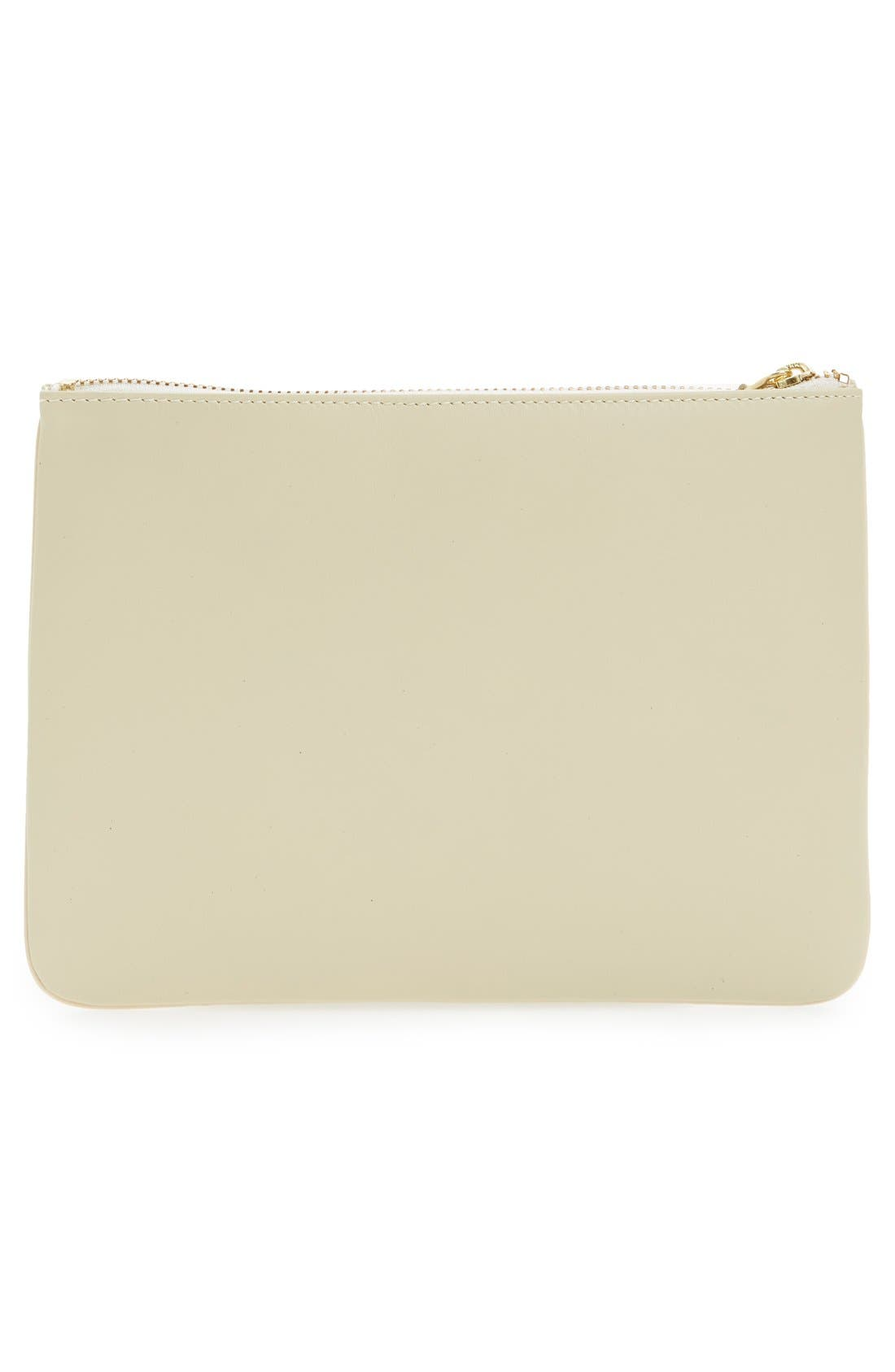 Medium Classic Leather Zip-Up Pouch,                             Alternate thumbnail 4, color,                             Off White