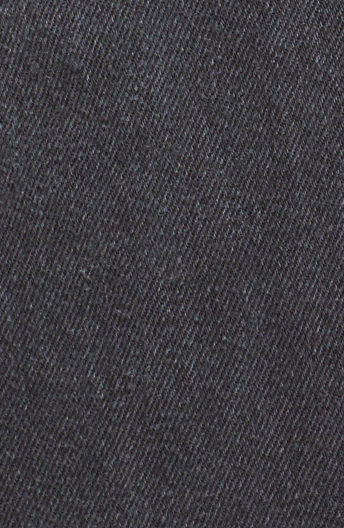 High Waist Repurposed Denim Miniskirt,                             Alternate thumbnail 5, color,                             Black