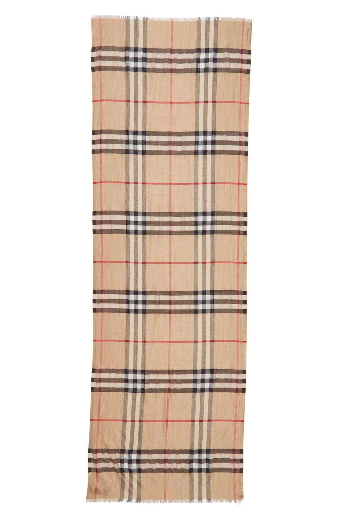 Giant Check Scarf,                             Alternate thumbnail 3, color,                             Camel/ Gold