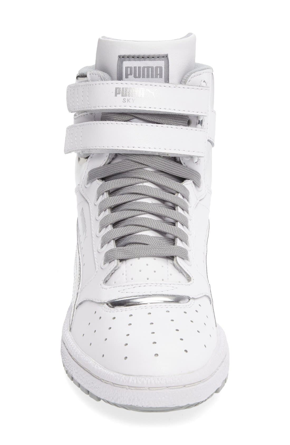 Sky II Hi Foil Jr Sneaker,                             Alternate thumbnail 3, color,                             Puma White-Puma Silver