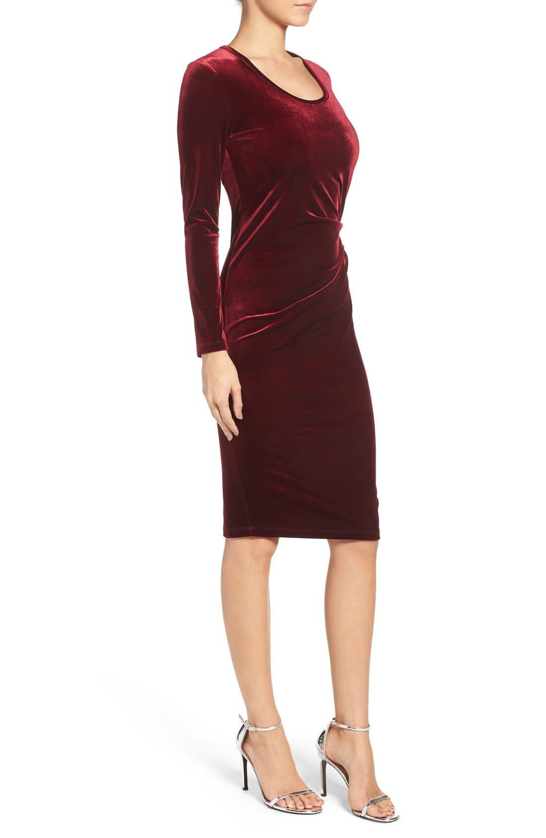 Velvet Body-Con Dress,                             Alternate thumbnail 3, color,                             Wine