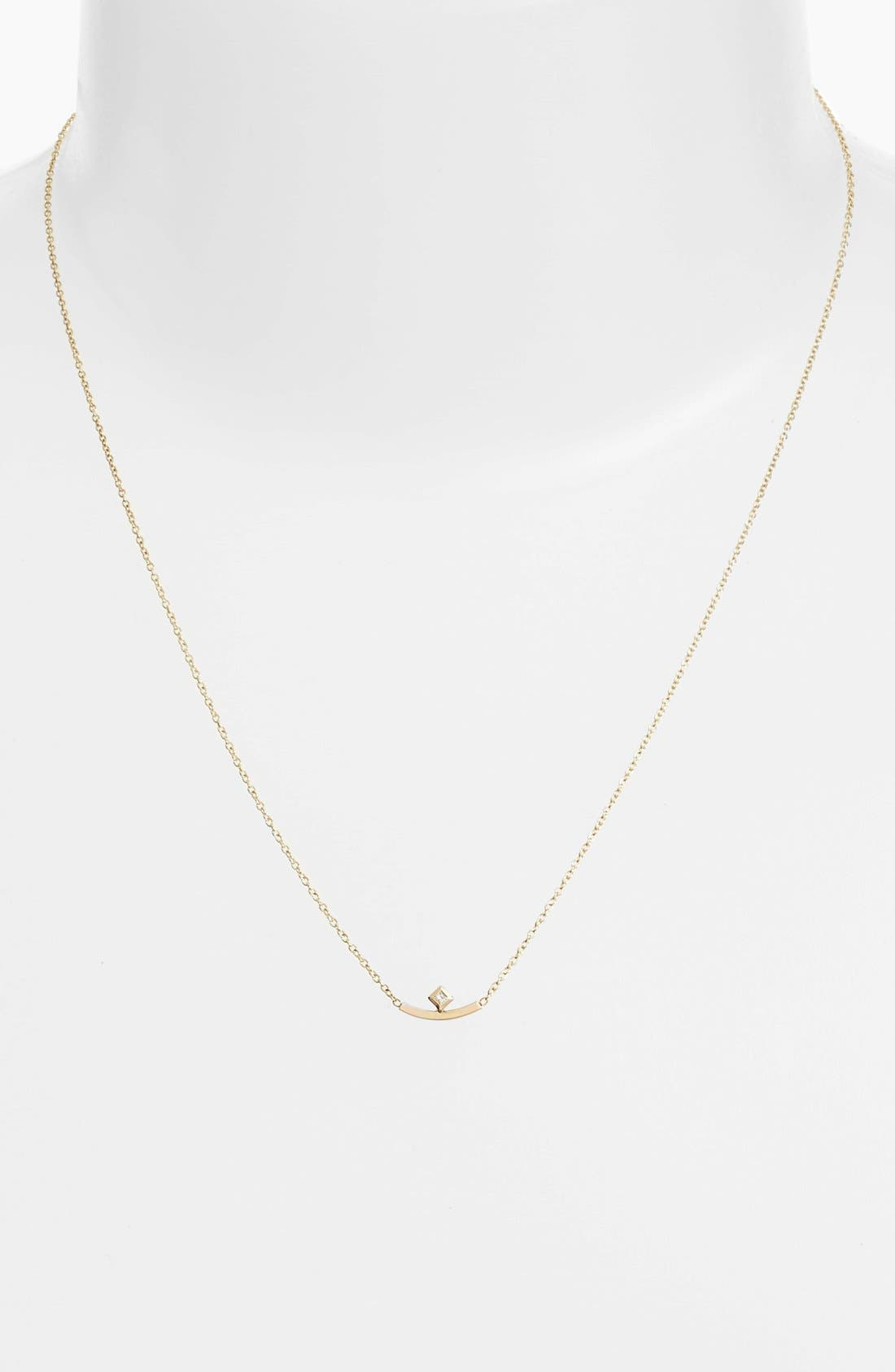 Diamond Curved Bar Necklace,                             Alternate thumbnail 2, color,                             Yellow Gold