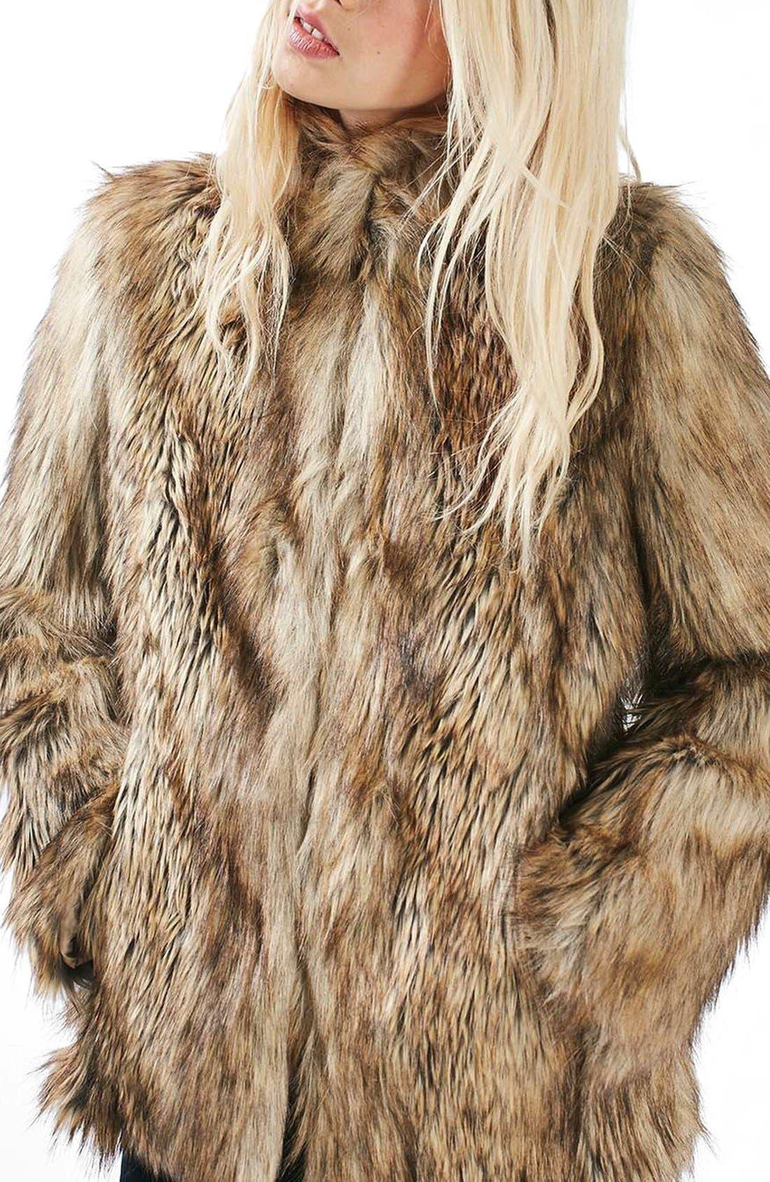 Kate Faux Fur Coat,                             Alternate thumbnail 4, color,                             Brown