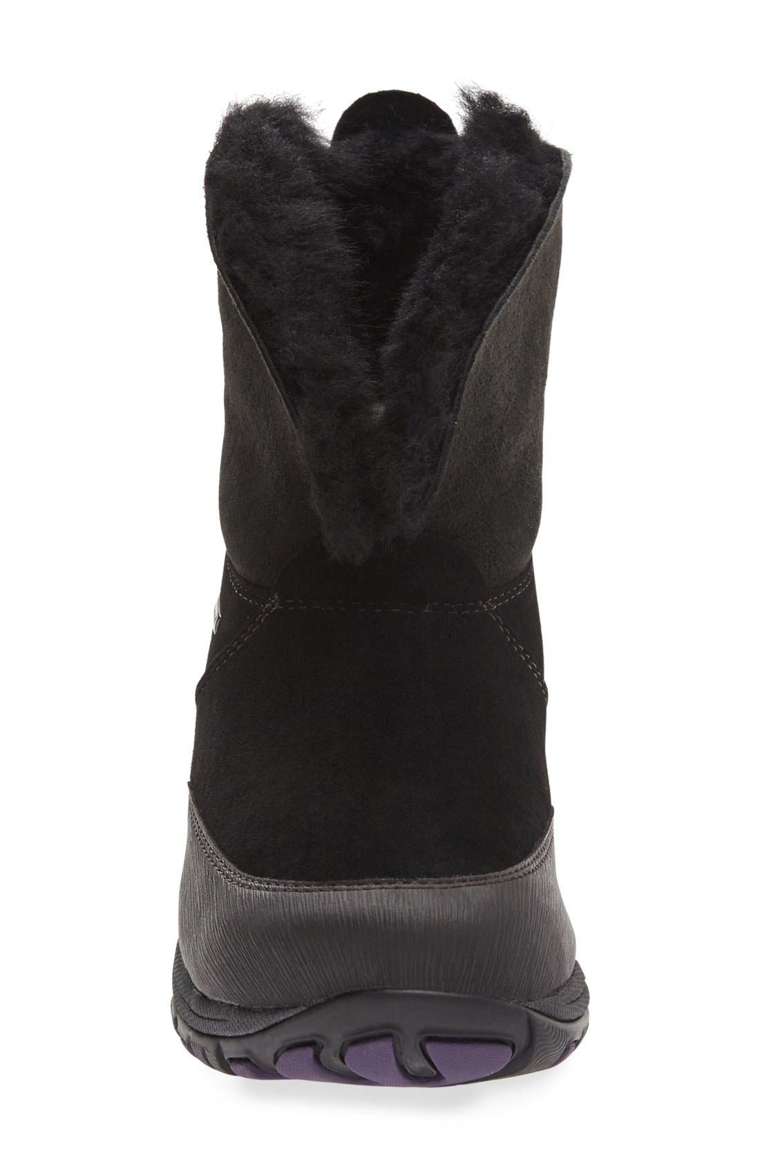 Priscilla Genuine Shearling Waterproof Bootie,                             Alternate thumbnail 3, color,                             Black Suede