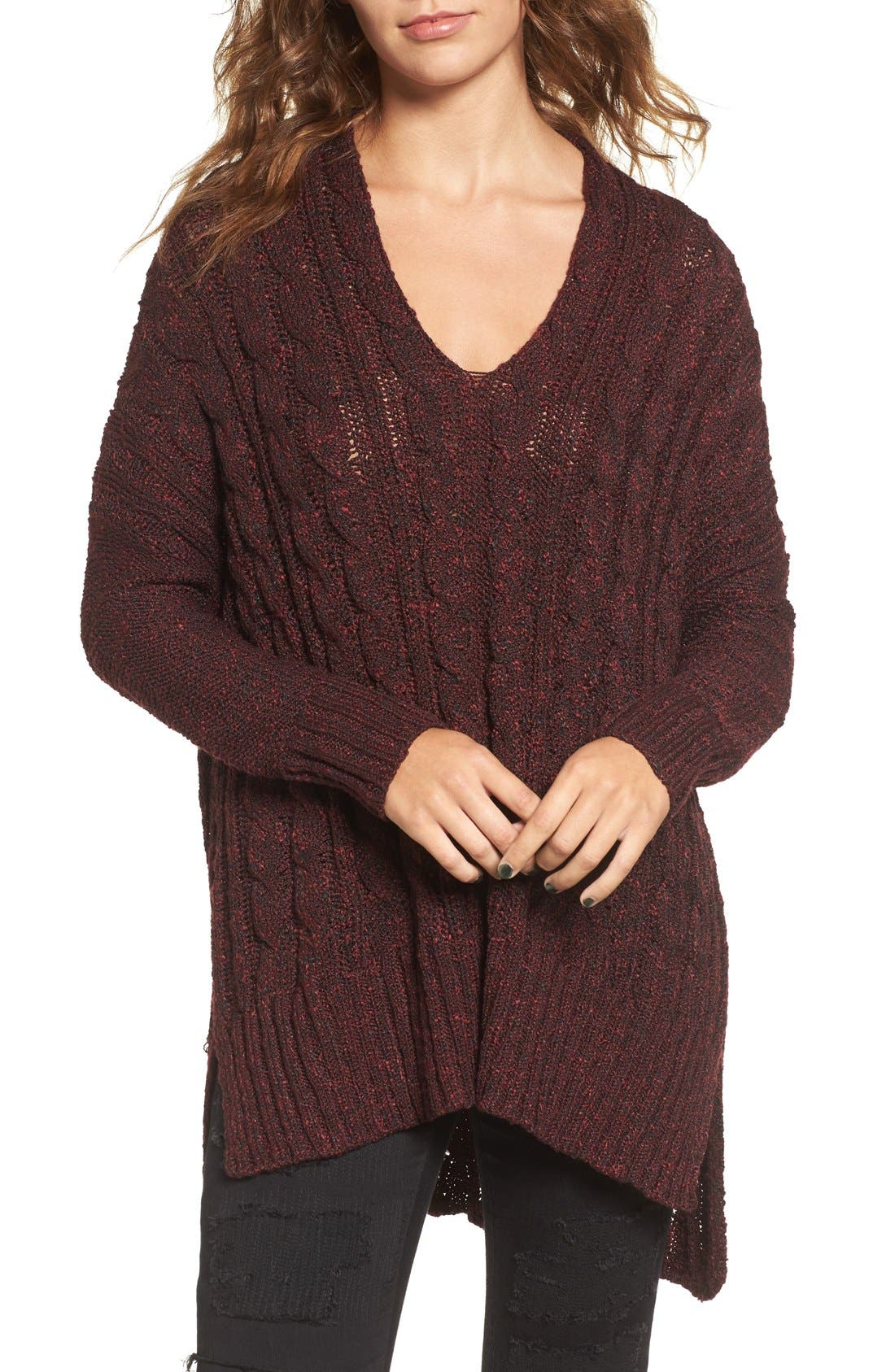 Marled Cable Knit Pullover,                             Main thumbnail 1, color,                             Burgundy/ Black Marl