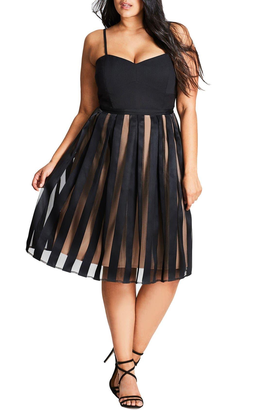 Main Image - City Chic Pretty Pleat Dress (Plus Size)