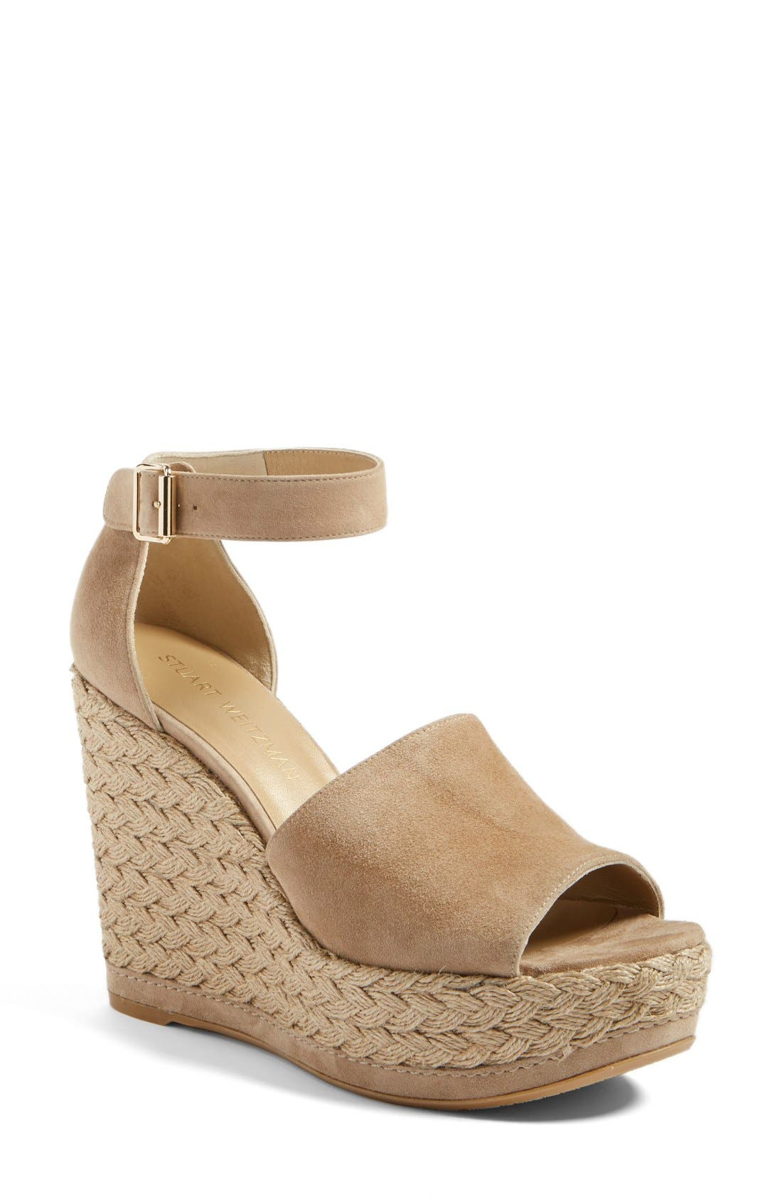 Sohojute Platform Wedge Sandal,                             Main thumbnail 1, color,                             Mojave Suede