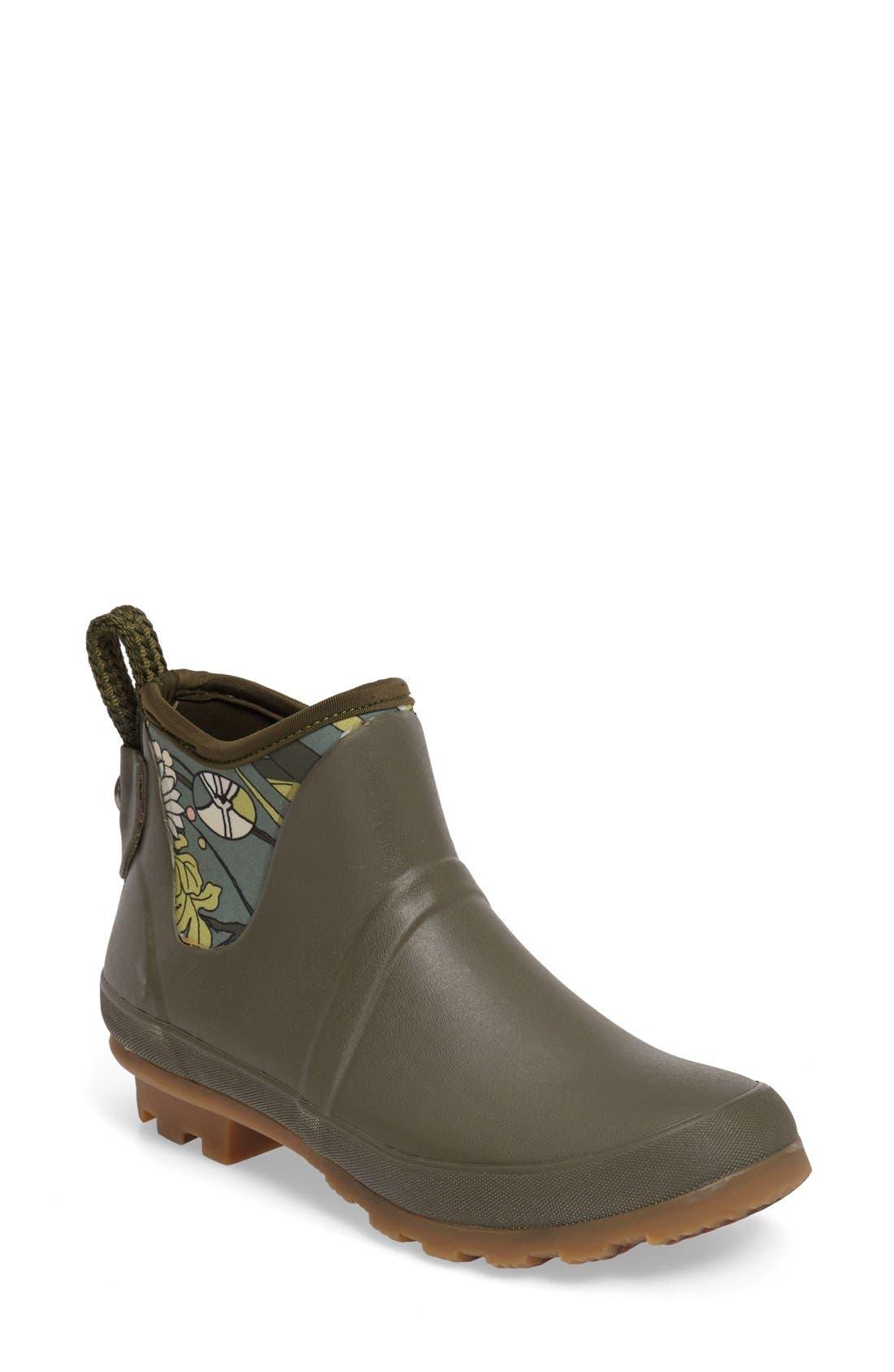 Mano Waterproof Rain Boot,                         Main,                         color, Olive Flower Power