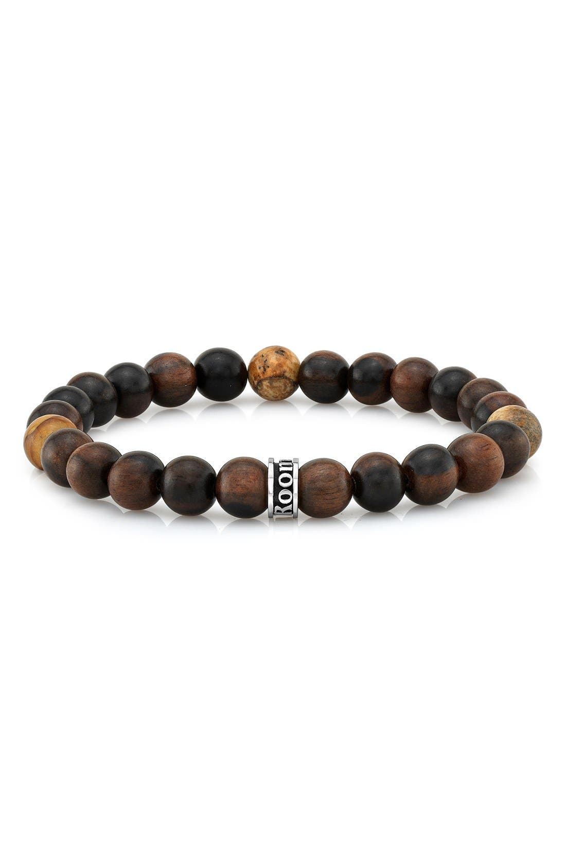 Wood & Agate Bead Stretch Bracelet,                         Main,                         color, Brown