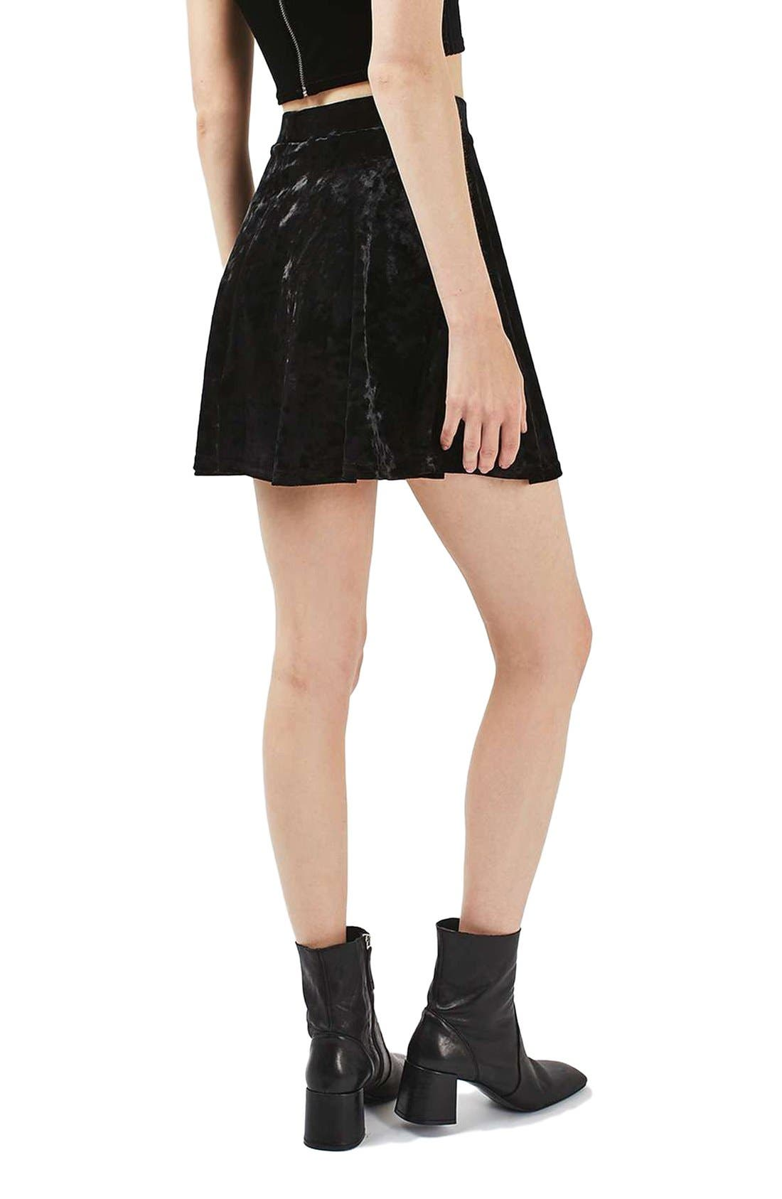 Alternate Image 3  - Topshop Velvet Skater Skirt