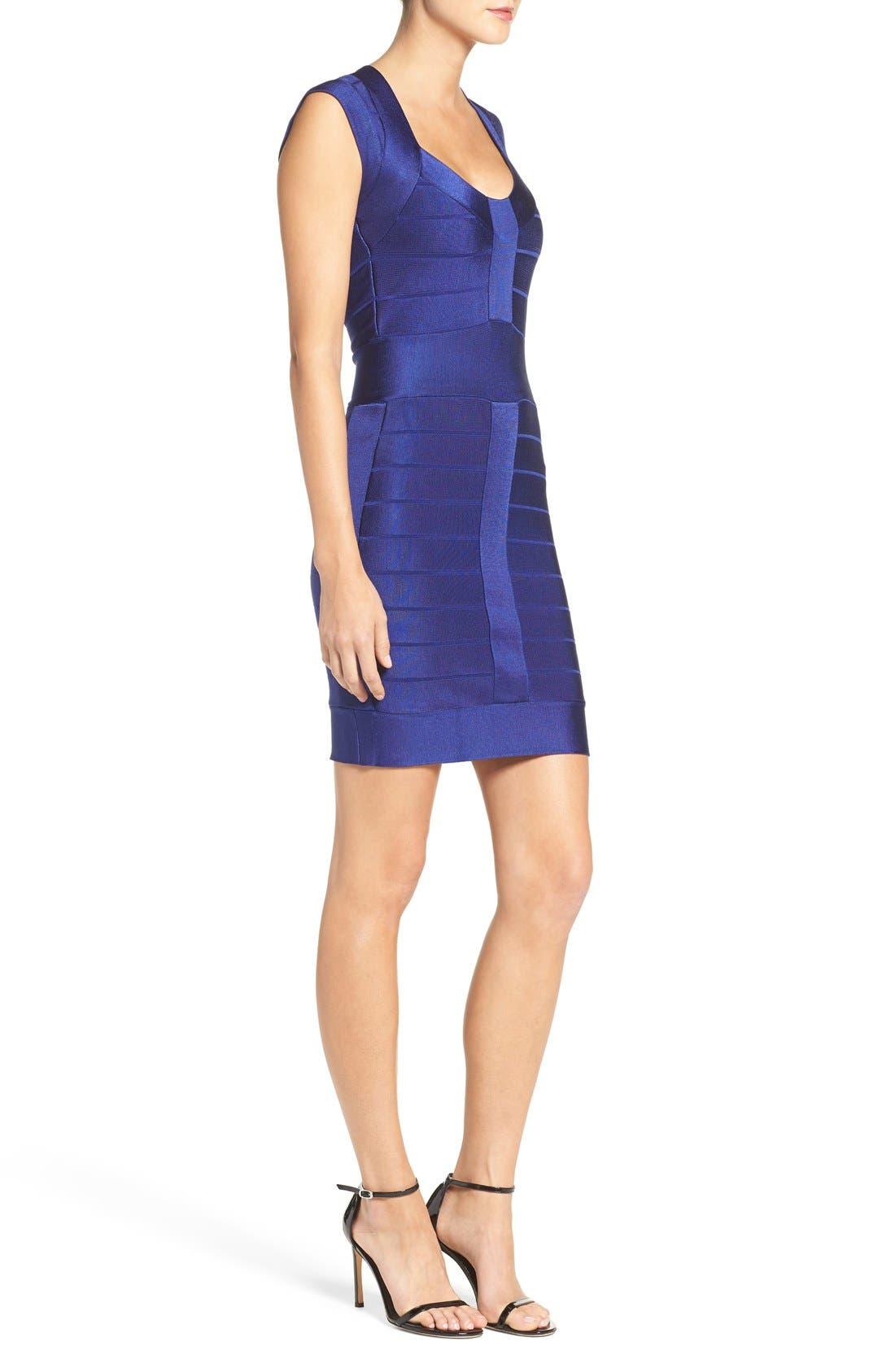 Spotlight Bandage Dress,                             Alternate thumbnail 3, color,                             Maya Blue