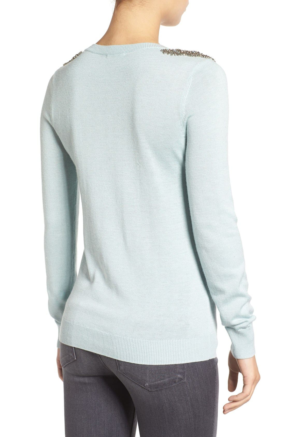 Alternate Image 2  - Halogen® Embellished Shoulder Sweater (Regular & Petite)