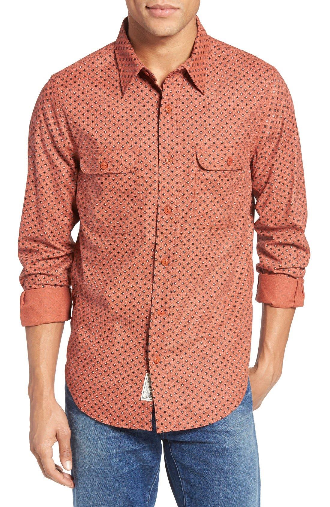 Print Sport Shirt,                         Main,                         color, Rust