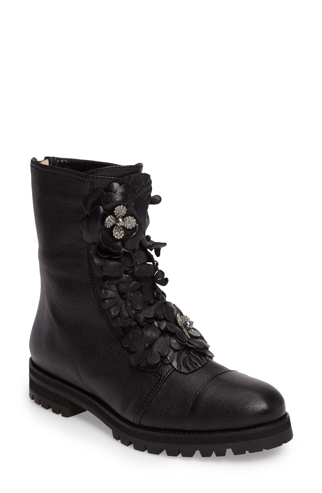 Havana Floral Boot,                         Main,                         color, Black Leather