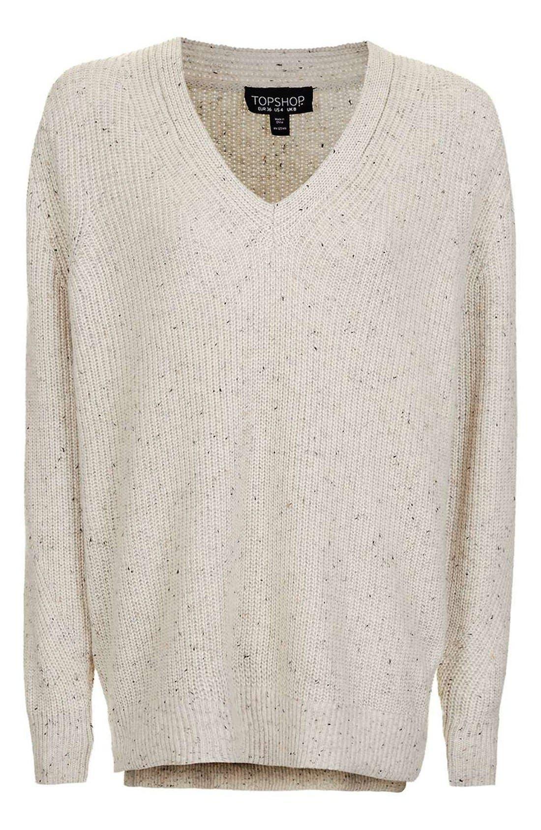 Alternate Image 4  - Topshop Ribbed V-Neck Sweater