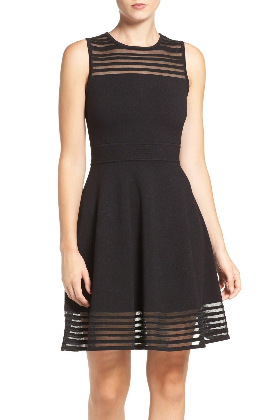 Alternate Image 1 Selected - Eliza J Stripe Fit & Flare Dress (Regular & Petite)