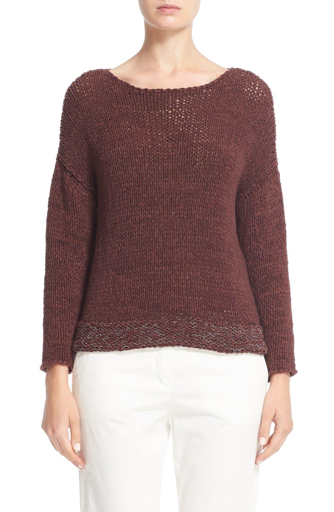 Mollini Trim Cotton Blend Sweater,                         Main,                         color, Garnet