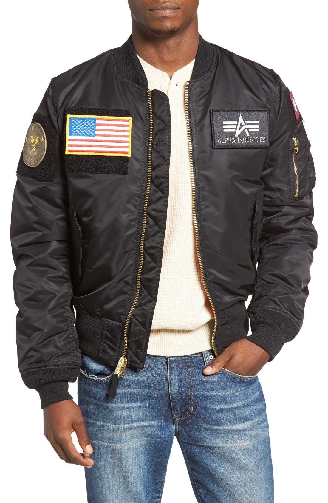 Slim Fit Reversible MA-1 Flex Bomber Jacket,                         Main,                         color, Black