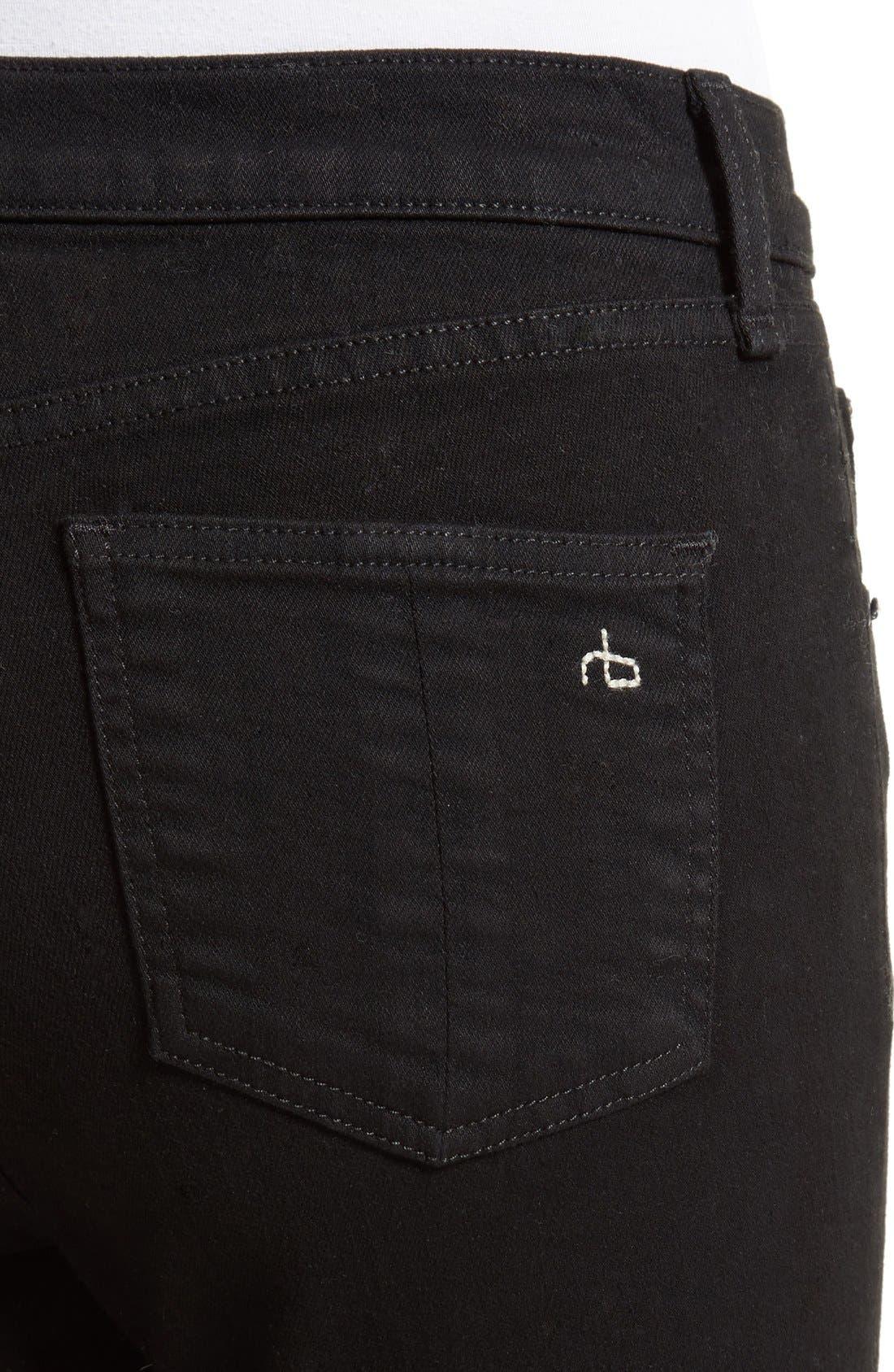 Cutoff Capri Jeans,                             Alternate thumbnail 4, color,                             Black Hampton