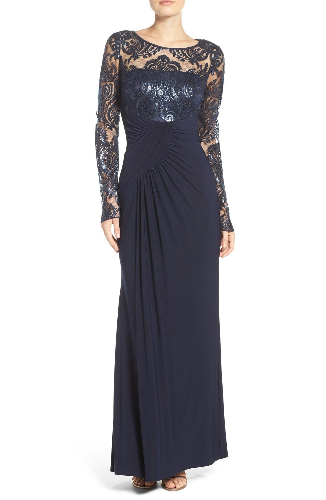 Draped Long Sleeve Gown,                             Main thumbnail 1, color,                             Navy