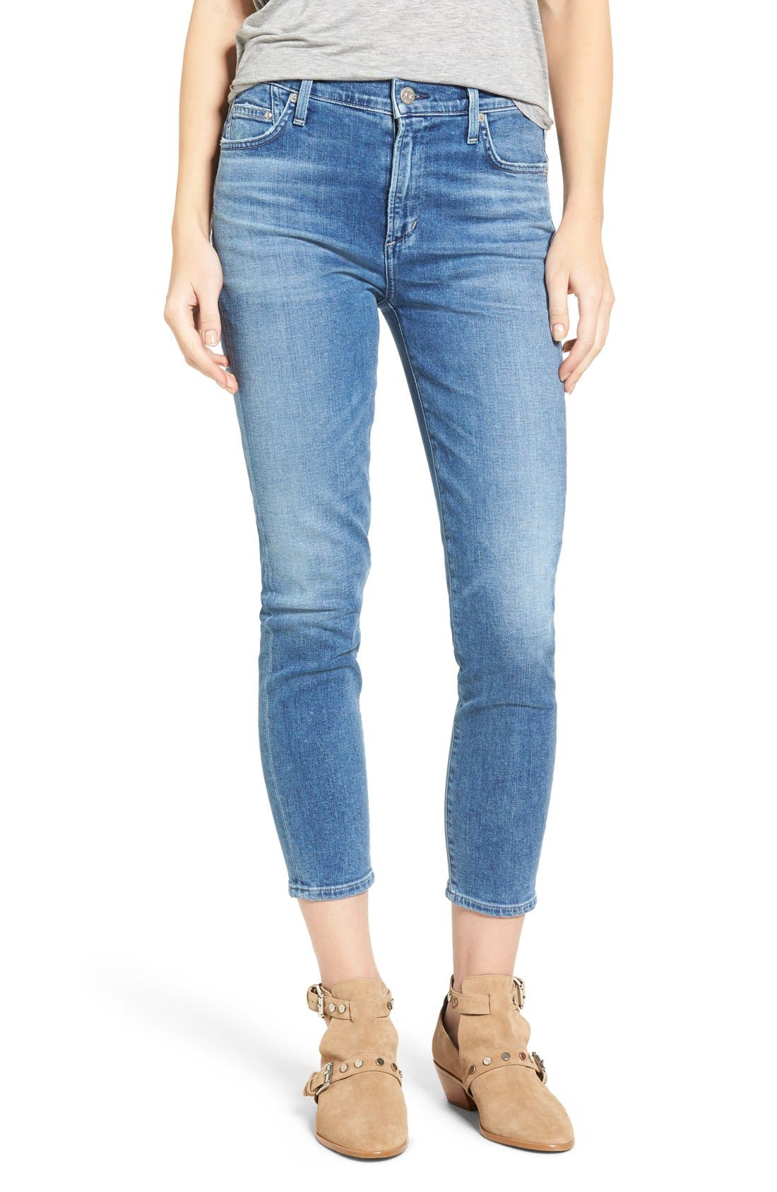 Rocket High Waist Crop Skinny Jeans,                         Main,                         color, Pacifica
