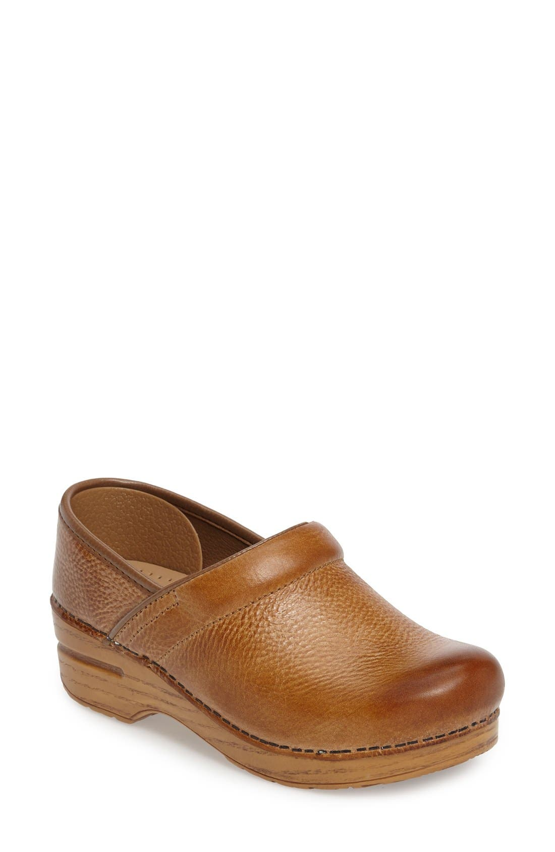 Distressed Professional Clog,                             Main thumbnail 1, color,                             Honey Leather