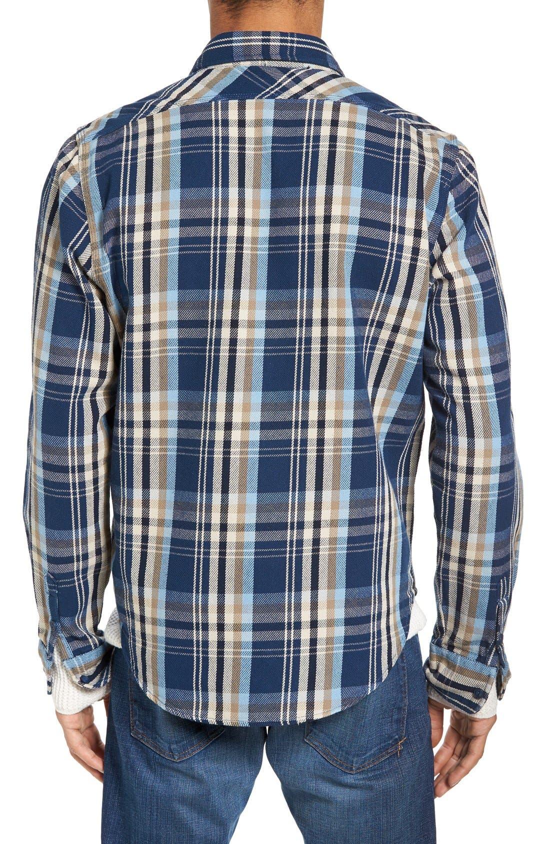 Classic Fit Plaid Flannel Shirt,                             Alternate thumbnail 2, color,                             Blue