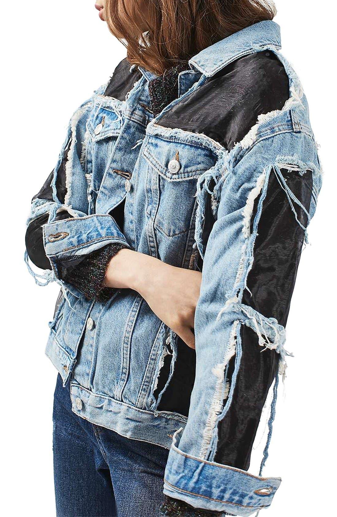 Main Image - Topshop Moto Organza Oversized Denim Jacket