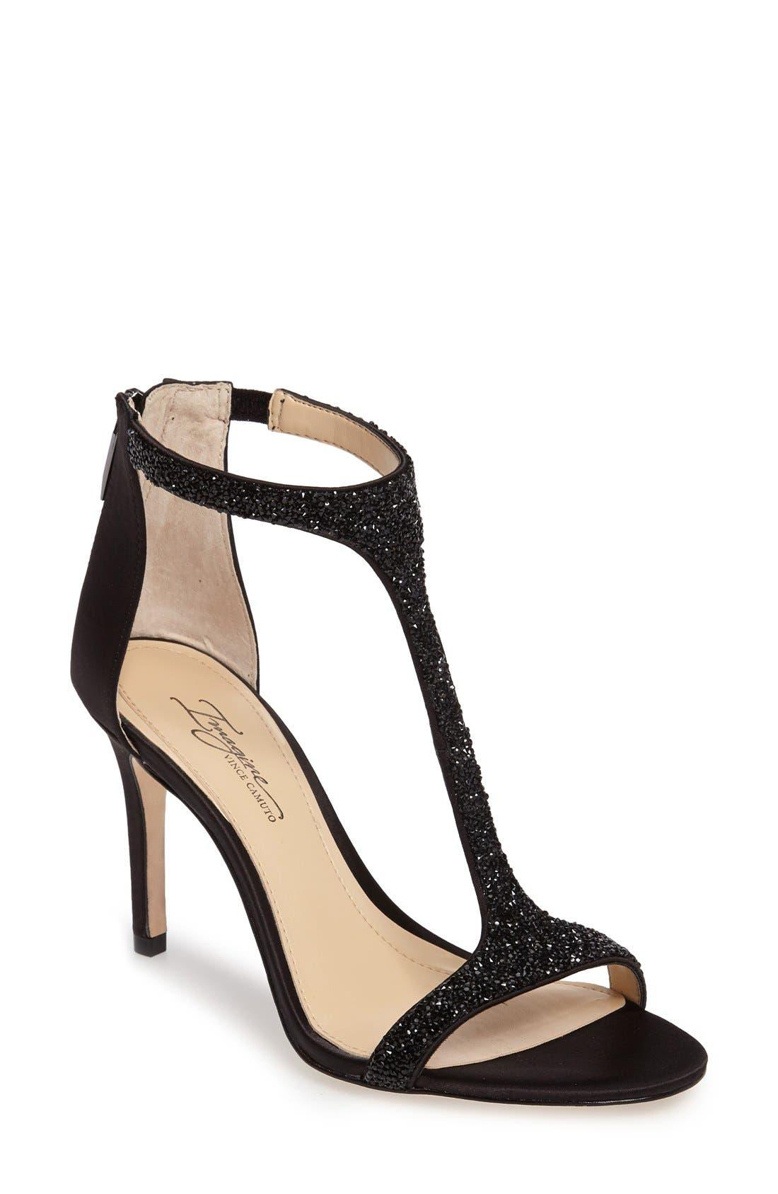 'Phoebe' Embellished T-Strap Sandal,                             Main thumbnail 1, color,                             Black Satin