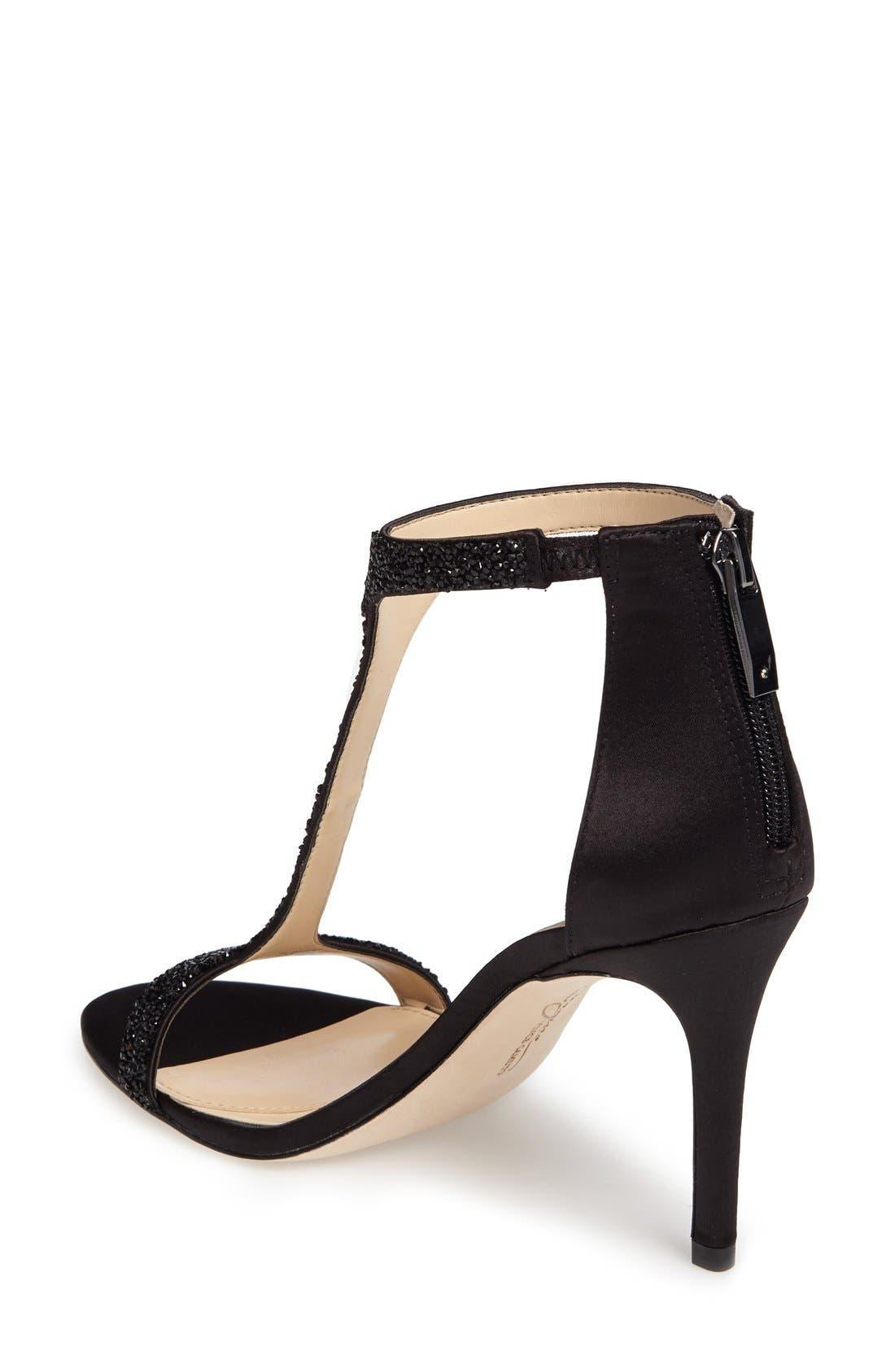 'Phoebe' Embellished T-Strap Sandal,                             Alternate thumbnail 2, color,                             Black Satin