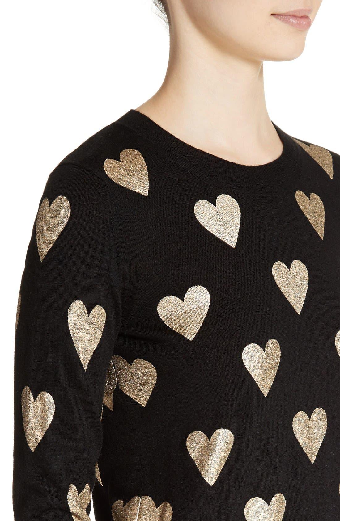 Alternate Image 6  - Burberry Bilboa Foil Heart Wool Sweater