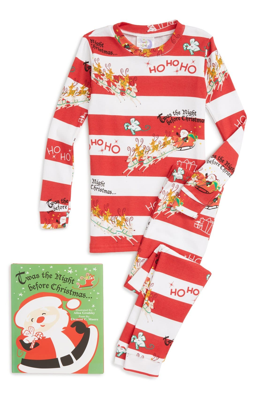 Books to Bed Twas the Night Before Christmas Fitted Two-Piece Pajamas & Book Set (Little Kid & Big Kid)