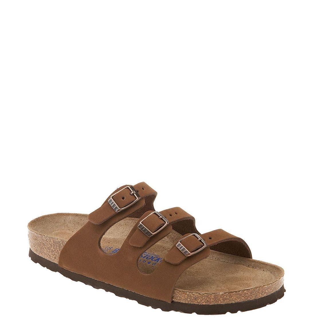 'Florida' Soft Footbed Sandal,                             Main thumbnail 1, color,                             Cocoa Nubuck