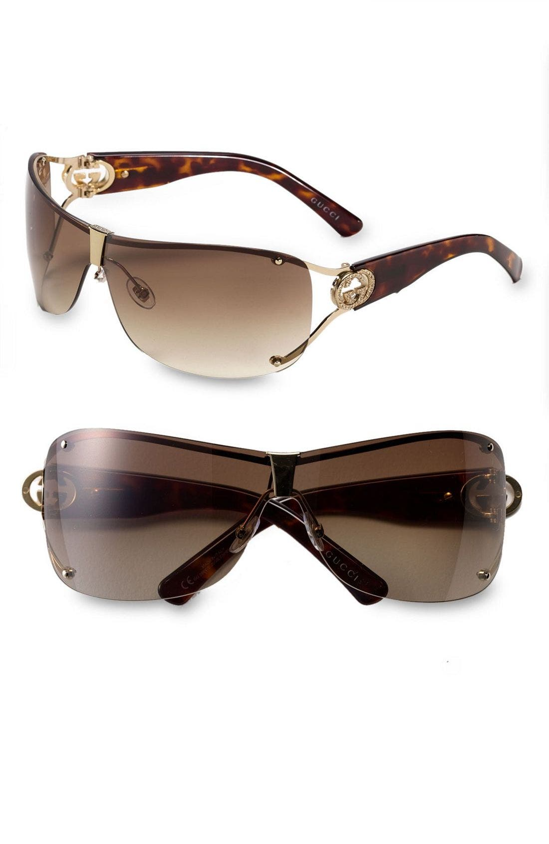 Main Image - Gucci 73mm Shield Sunglasses with Crystal Logo Detail