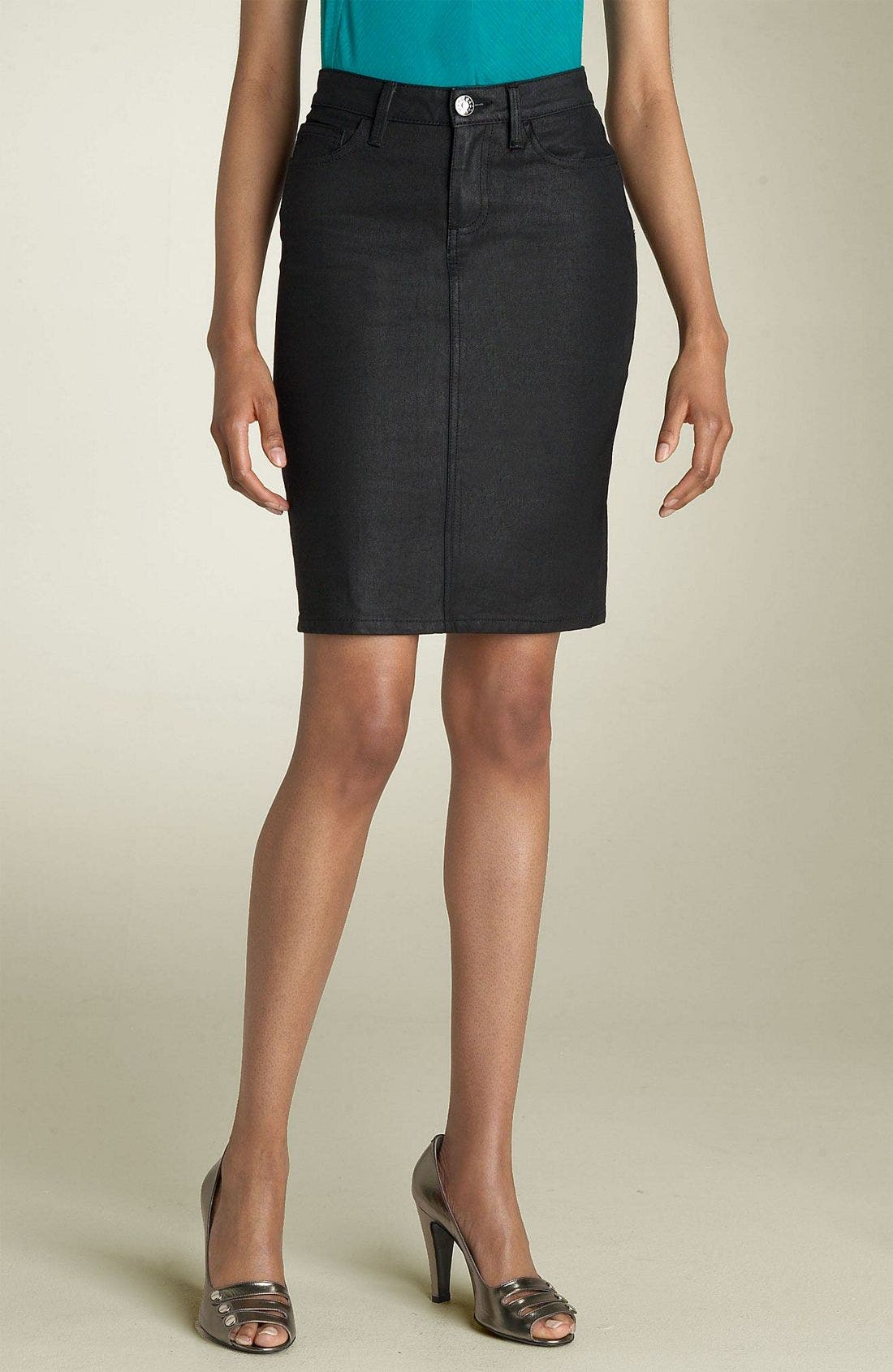 Main Image - MARC BY MARC JACOBS Denim Skirt (Black Coated)