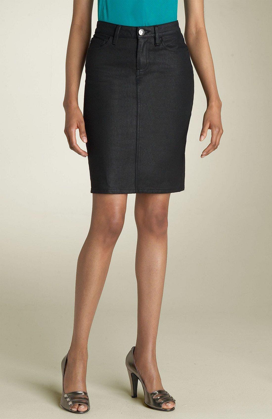 Denim Skirt,                         Main,                         color, Black Coated