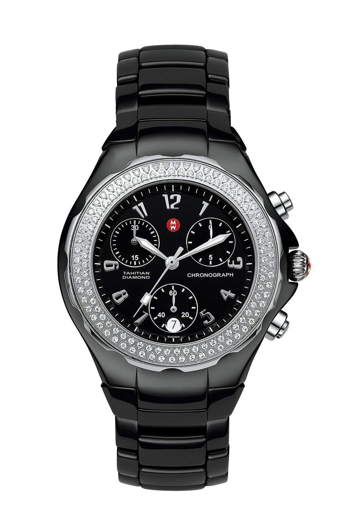 Main Image - MICHELE 'Tahitian Diamond' Ceramic Bracelet Watch, 35mm