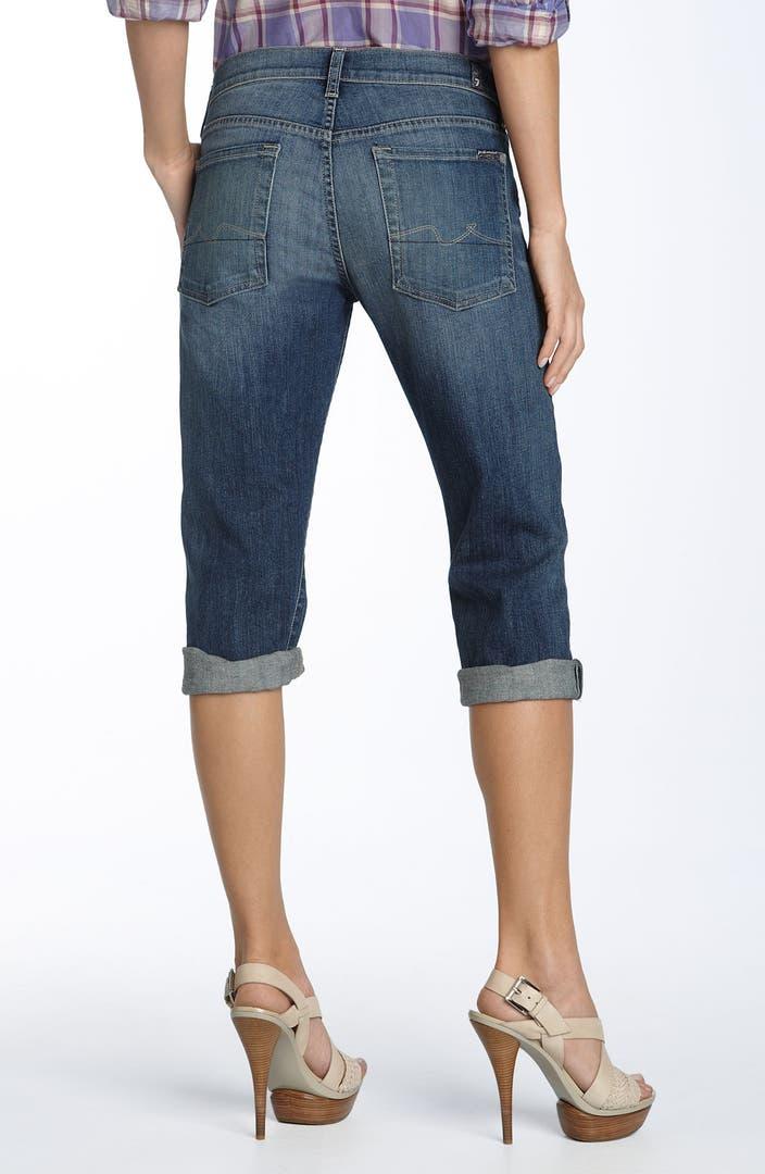 7 For All Mankindu00ae u0026#39;Josefinau0026#39; Crop Stretch Boyfriend Jeans (Medium Indigo Wash) | Nordstrom