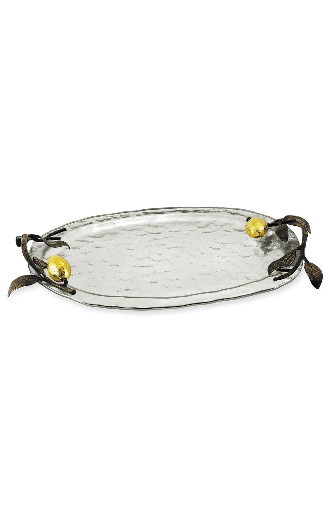 'Lemonwood' Plated Glass Tray,                         Main,                         color, Silver Glass