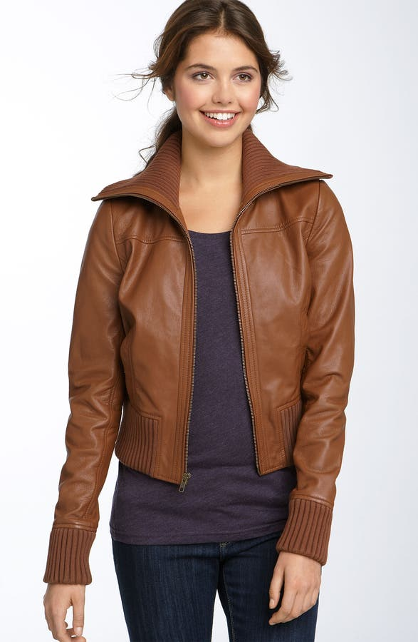 Frenchi® Leather Bomber Jacket (Juniors) | Nordstrom