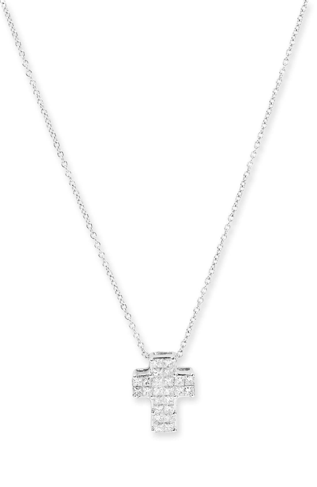 Main Image - Bony Levy Diamond Cross Pendant Necklace (Nordstrom Exclusive)
