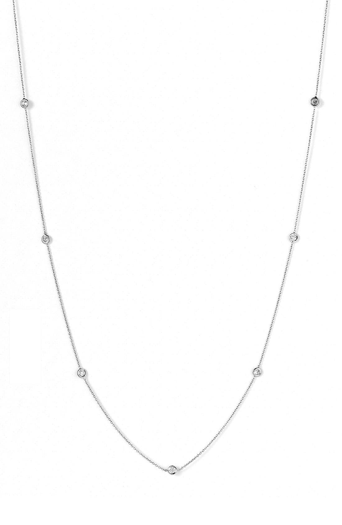 Diamond Station Necklace,                             Alternate thumbnail 2, color,                             White Gold