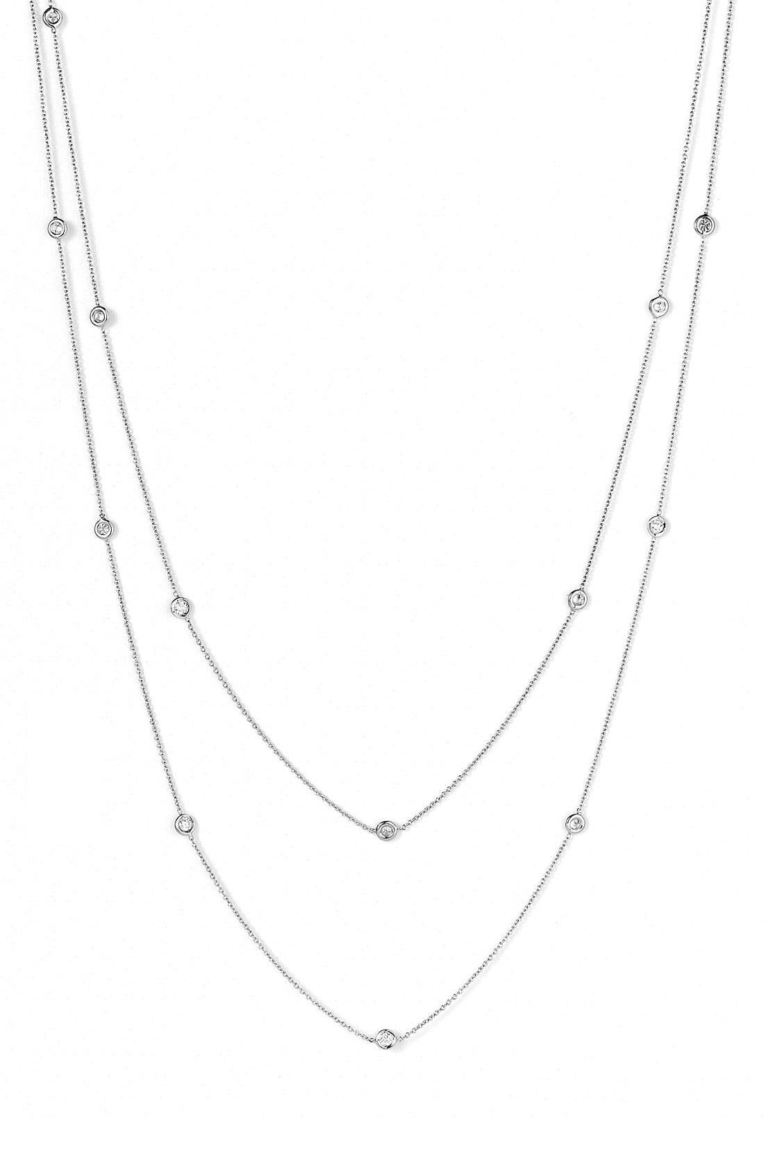 Diamond Station Necklace,                             Alternate thumbnail 3, color,                             White Gold