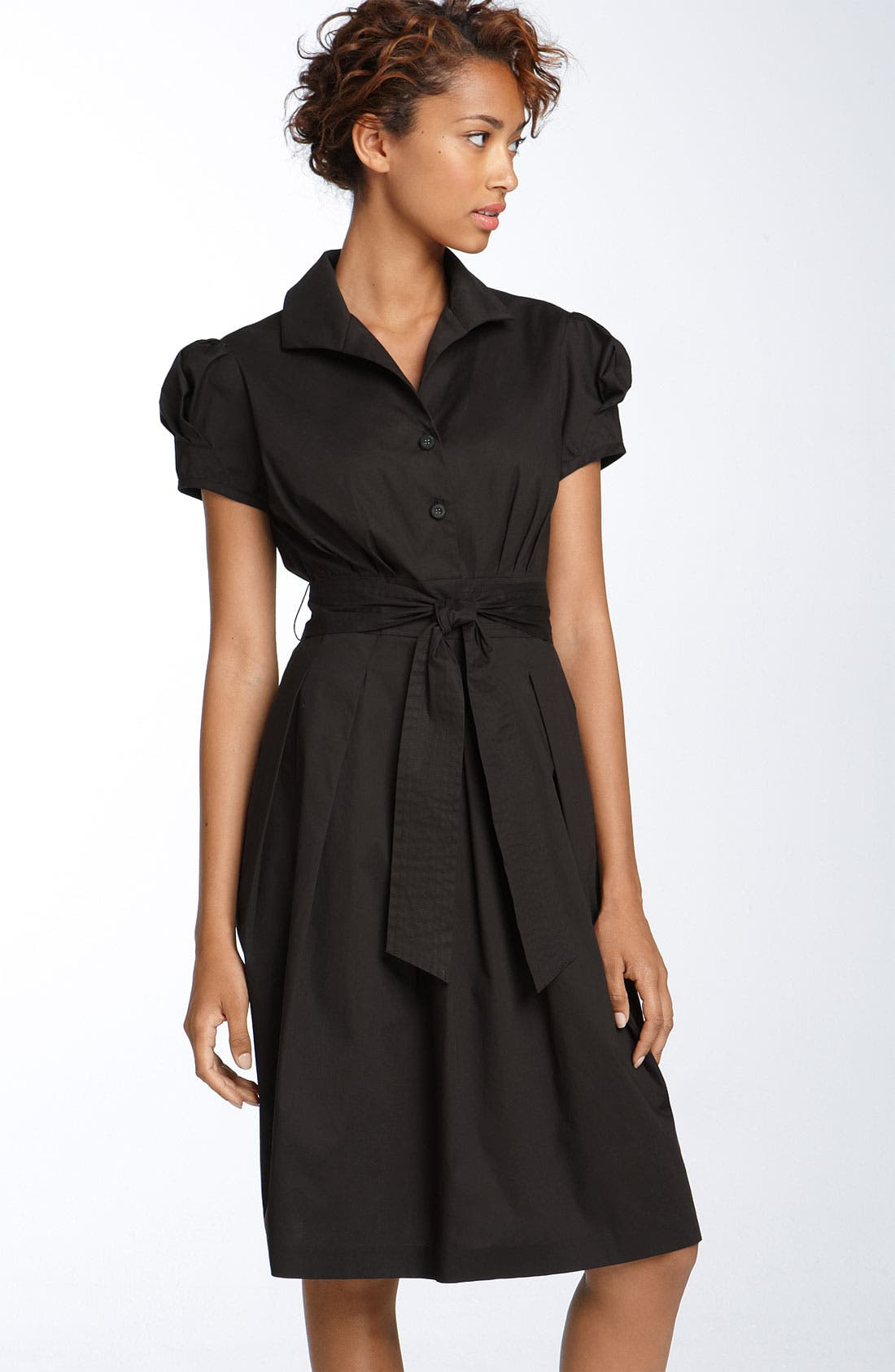 Alternate Image 1 Selected - Eliza J Stretch Cotton Shirtdress