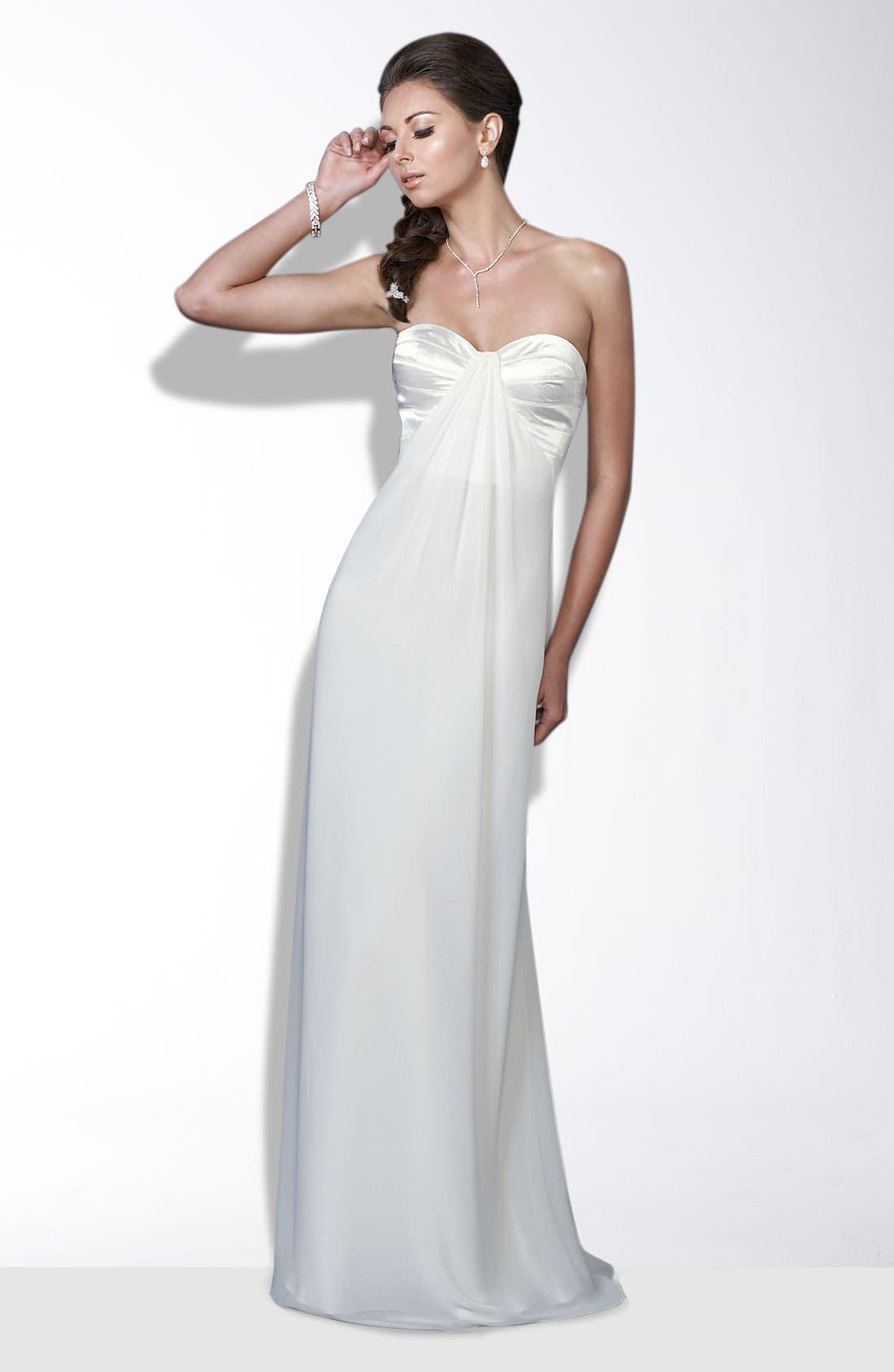 Main Image - La Femme Crisscross Back Satin & Chiffon Gown